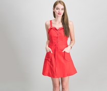 XOXO Juniors Lace-Up Fit Flare Dress, Red