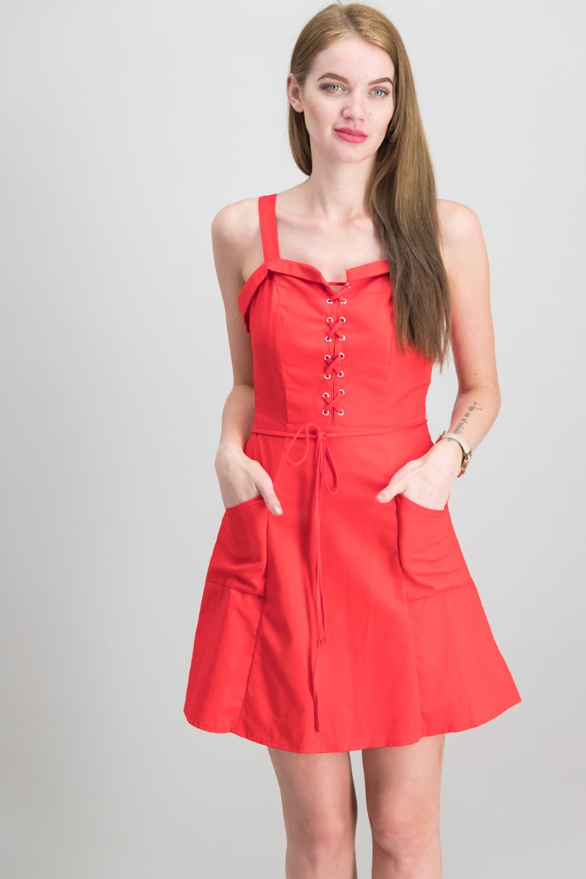 Juniors Lace-Up Fit Flare Dress, Red