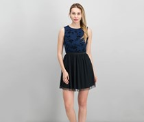 Speechless Juniors Flocked Fit Flare Dress, Navy/Black