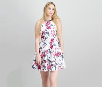 Speechless Juniors Tiered Fit Flare Dress, White/Pink Floral