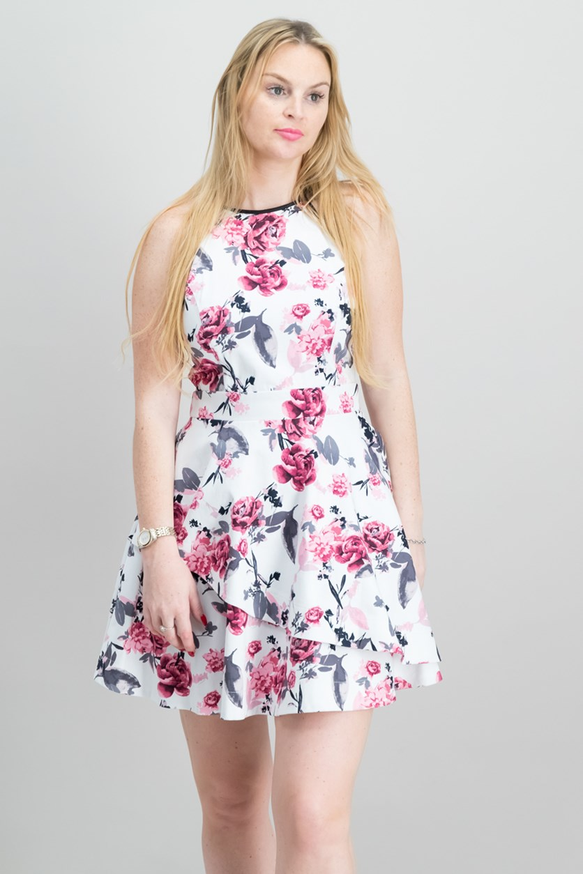 Juniors Tiered Fit Flare Dress, White/Pink Floral