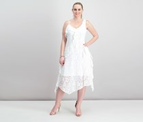 Taylor Ruffled Lace Midi Dress, Off White