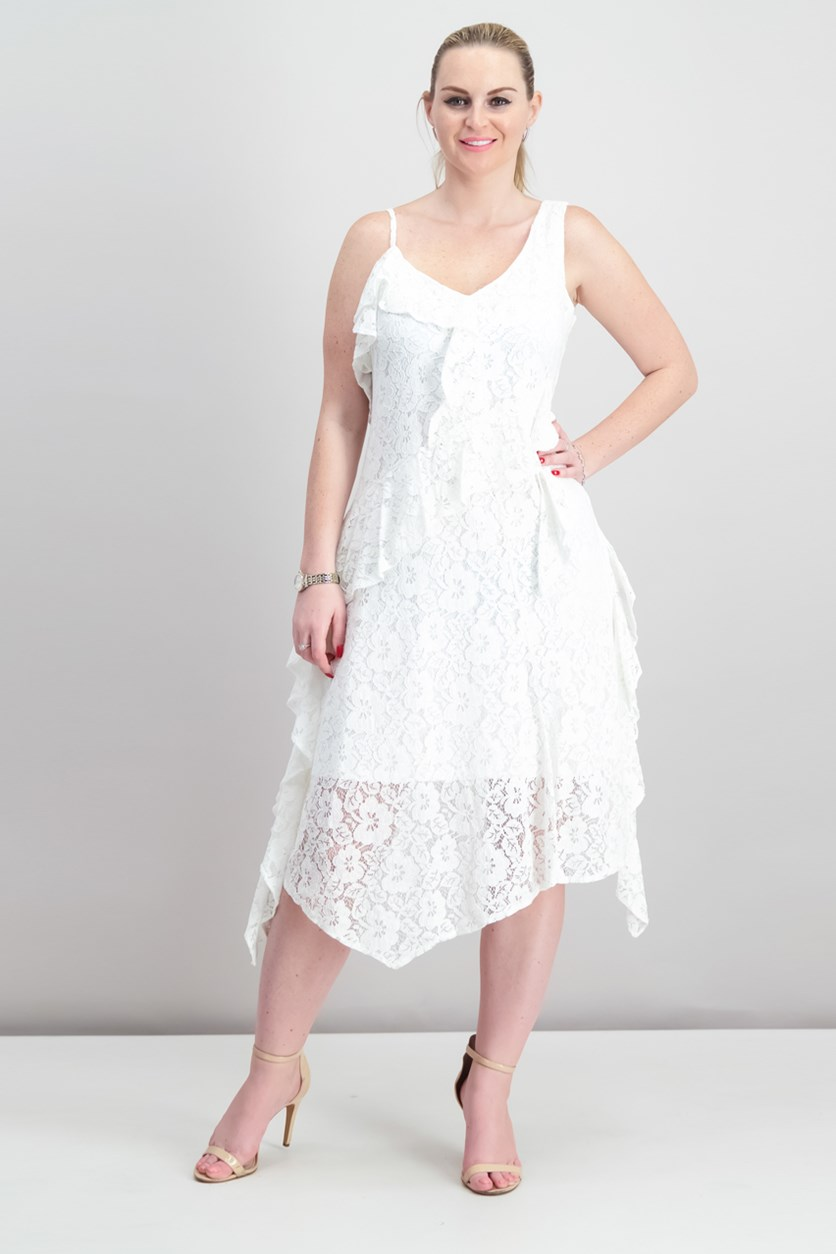 Ruffled Lace Midi Dress, Off White