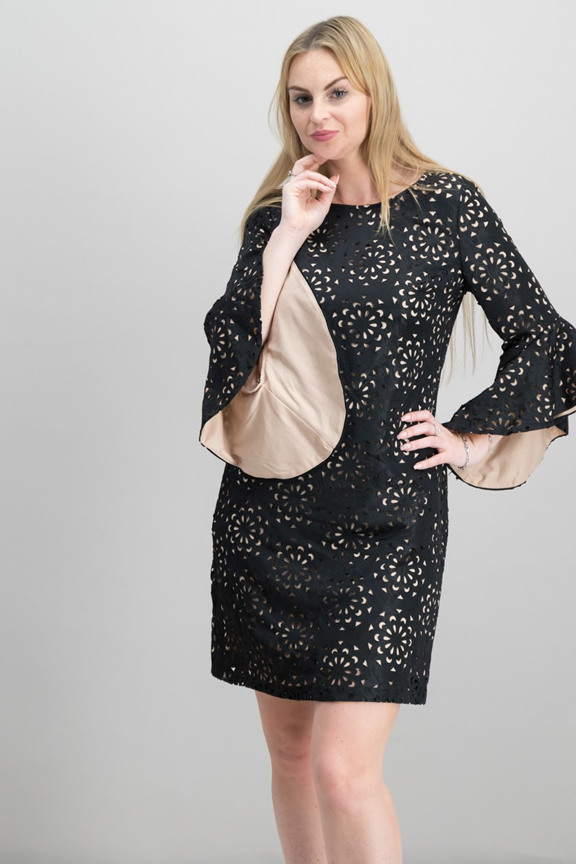 Laser-Cut Jacquard Bell-Sleeve Dress, Black