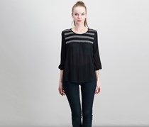 Women Crew Neck Blouse, Black/White