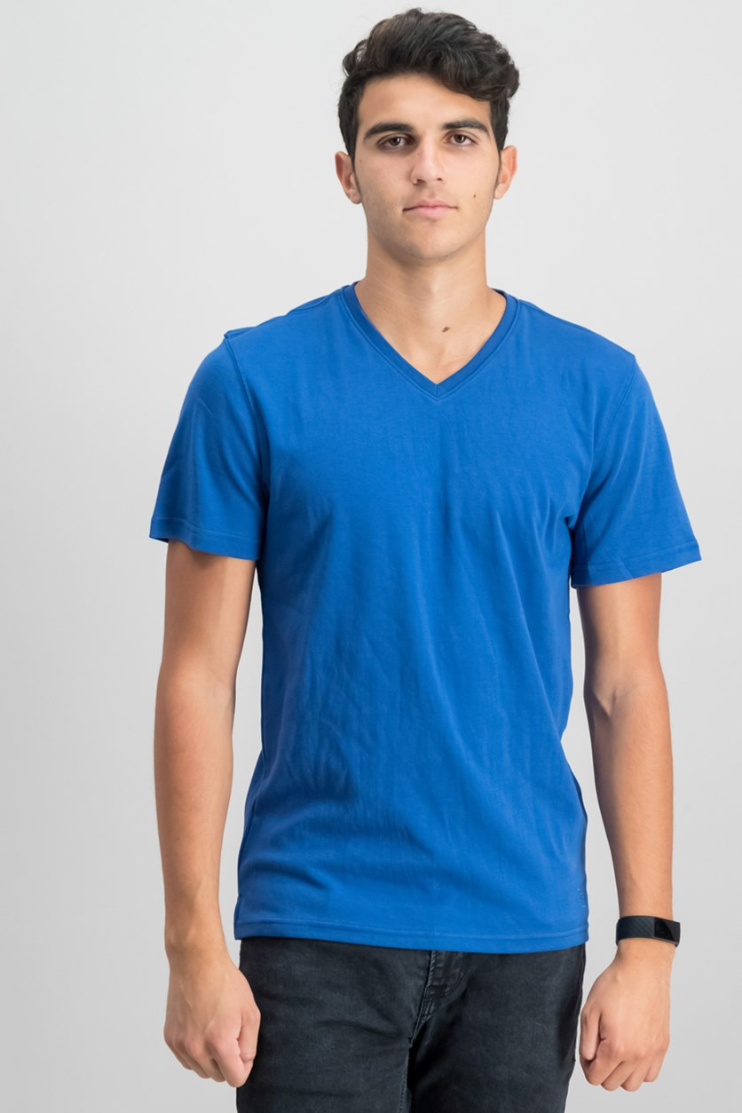 IKE by Ike Behar Men's V-Neck T-Shirt, Washed Blue