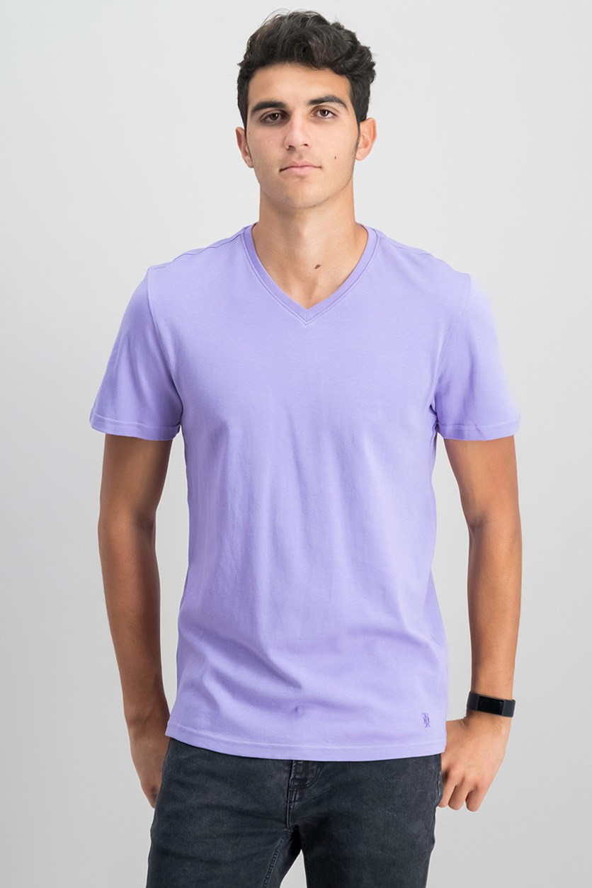 IKE by Ike Behar Men's V-Neck T-Shirt, Violet