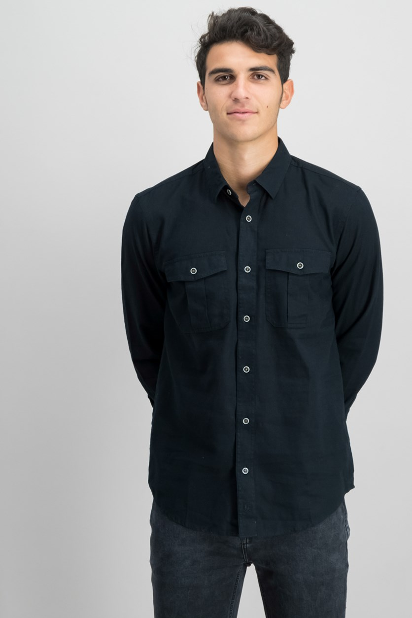 IKE by Ike Behar Men's Button Down Shirt, Black