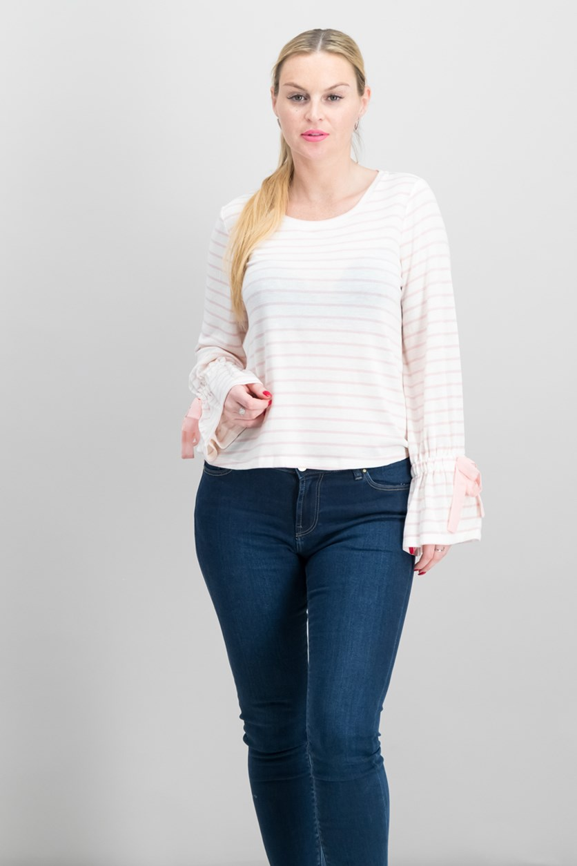 Striped Bell-Sleeve Top, Pink Lily