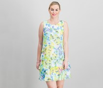 American Living Floral-Print Shift Dress, Cream/Blue/Yellow
