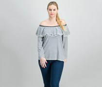 Ralph Lauren Quarter-Sleeve Striped Top, Winter Cream/Black