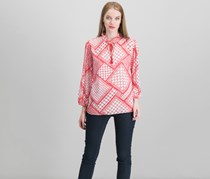 Ralph Lauren Printed Tassel-Tie Top, Red/White