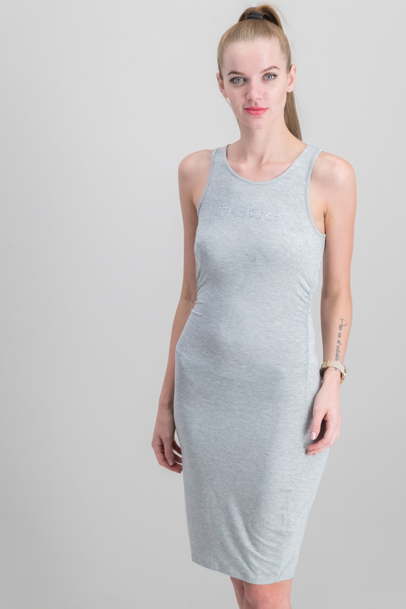 Sleeveless Logo Dress, Grey
