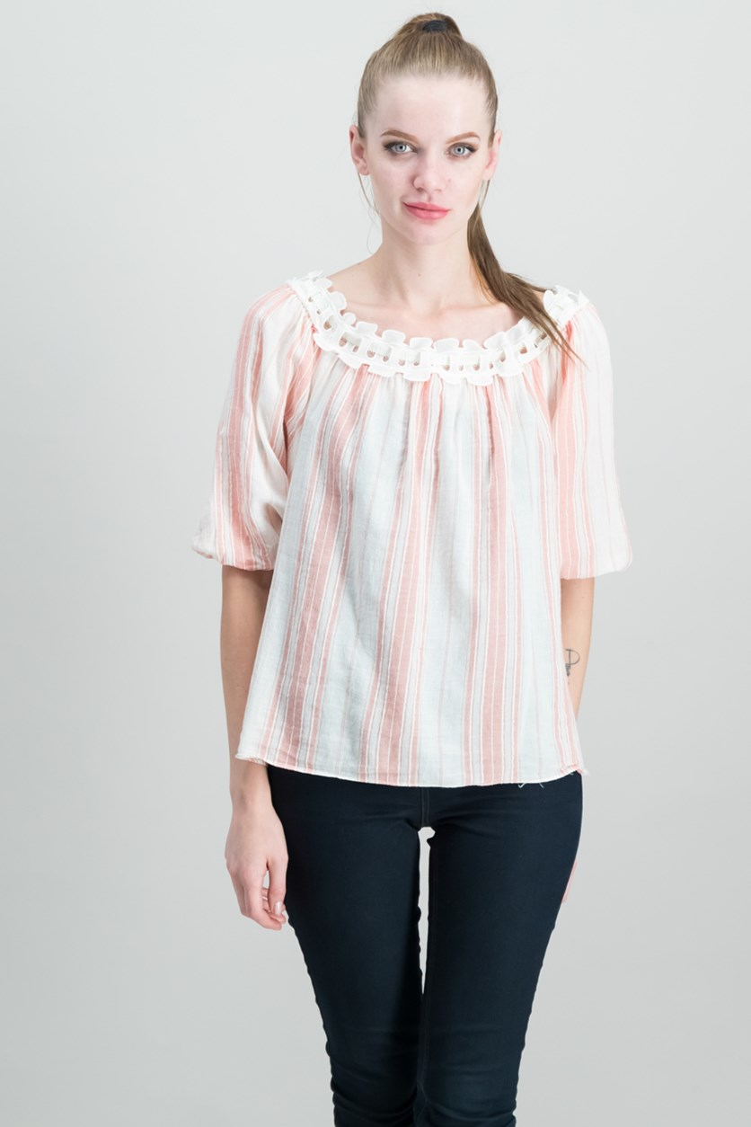 London Striped Off-The-Shoulder Top, Cream/Pink