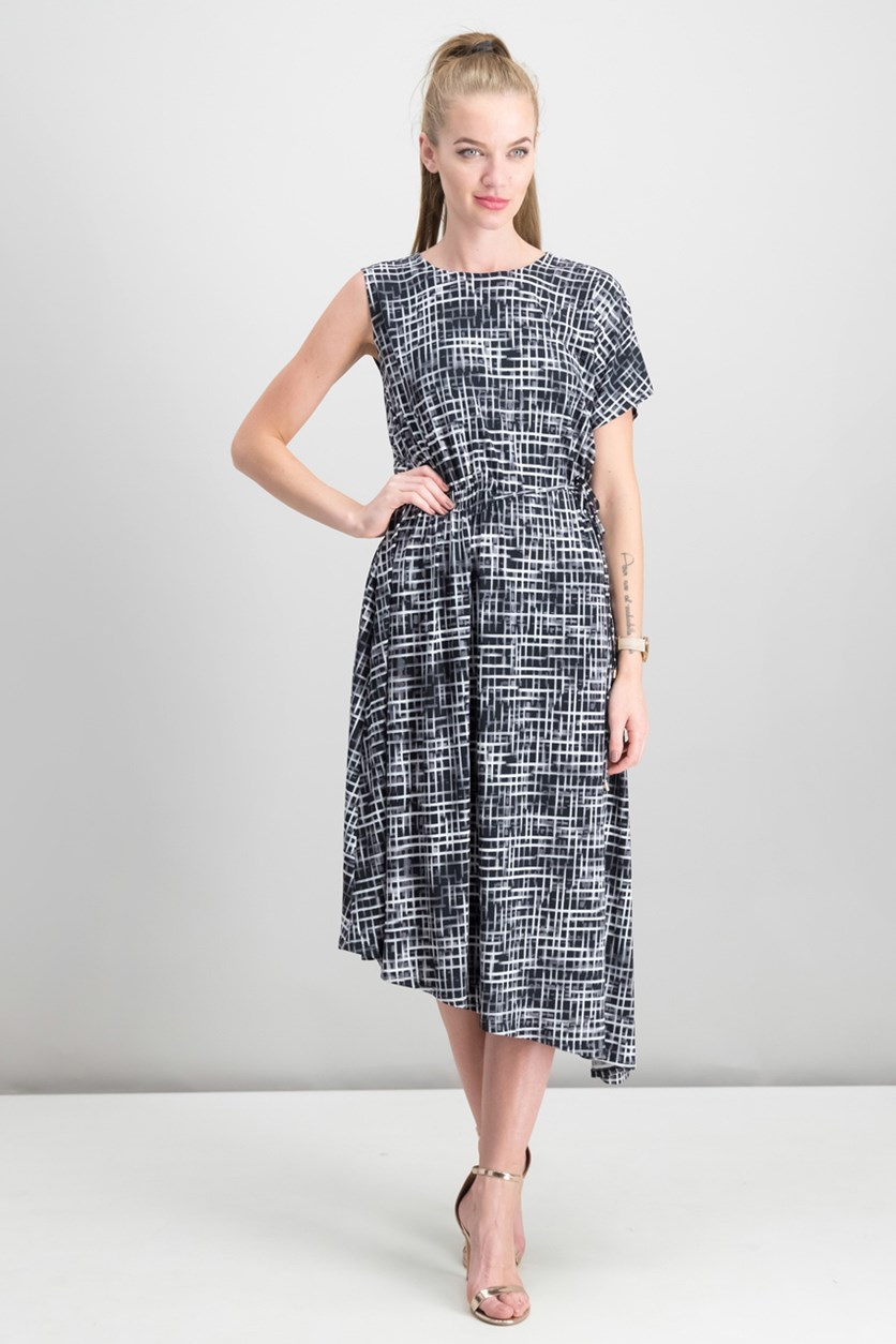 Asymmetrical Dress With Side Ruching, Black Combo
