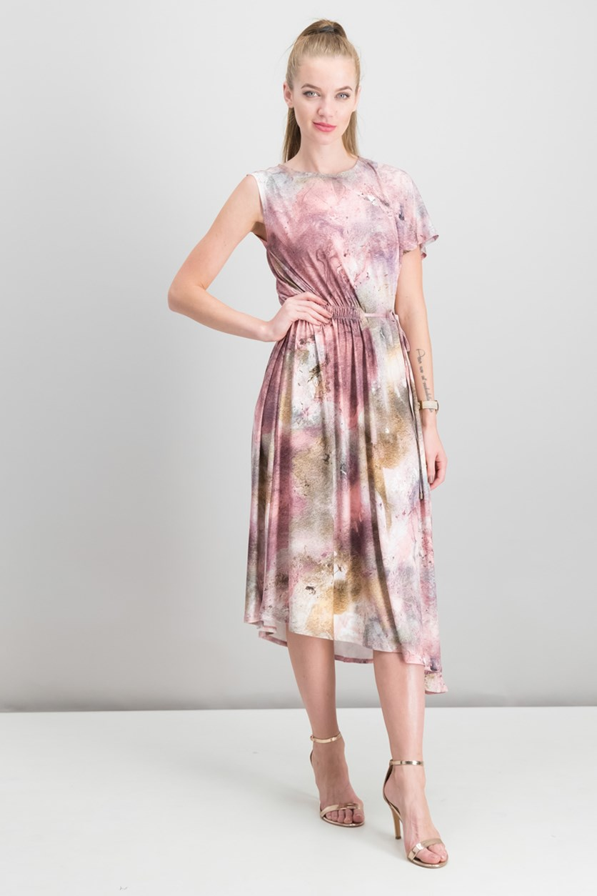 Asymmetrical Dress With Side Ruching, Pink Combo
