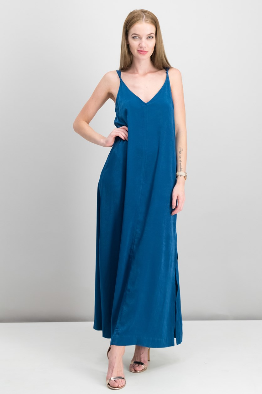 Women's Brushed Satin Maxi Dress, Ocean/Blue