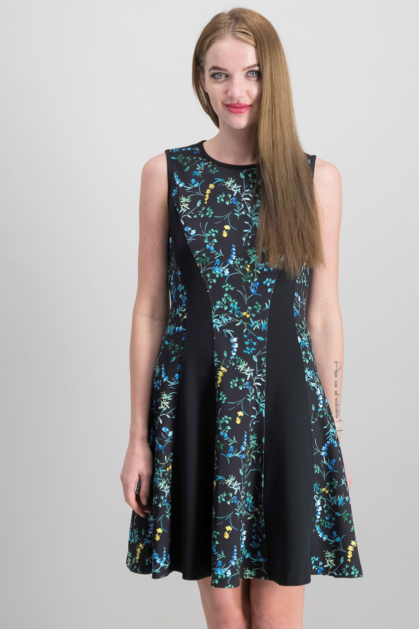 Printed Fit & Flare Dress, Black Combo