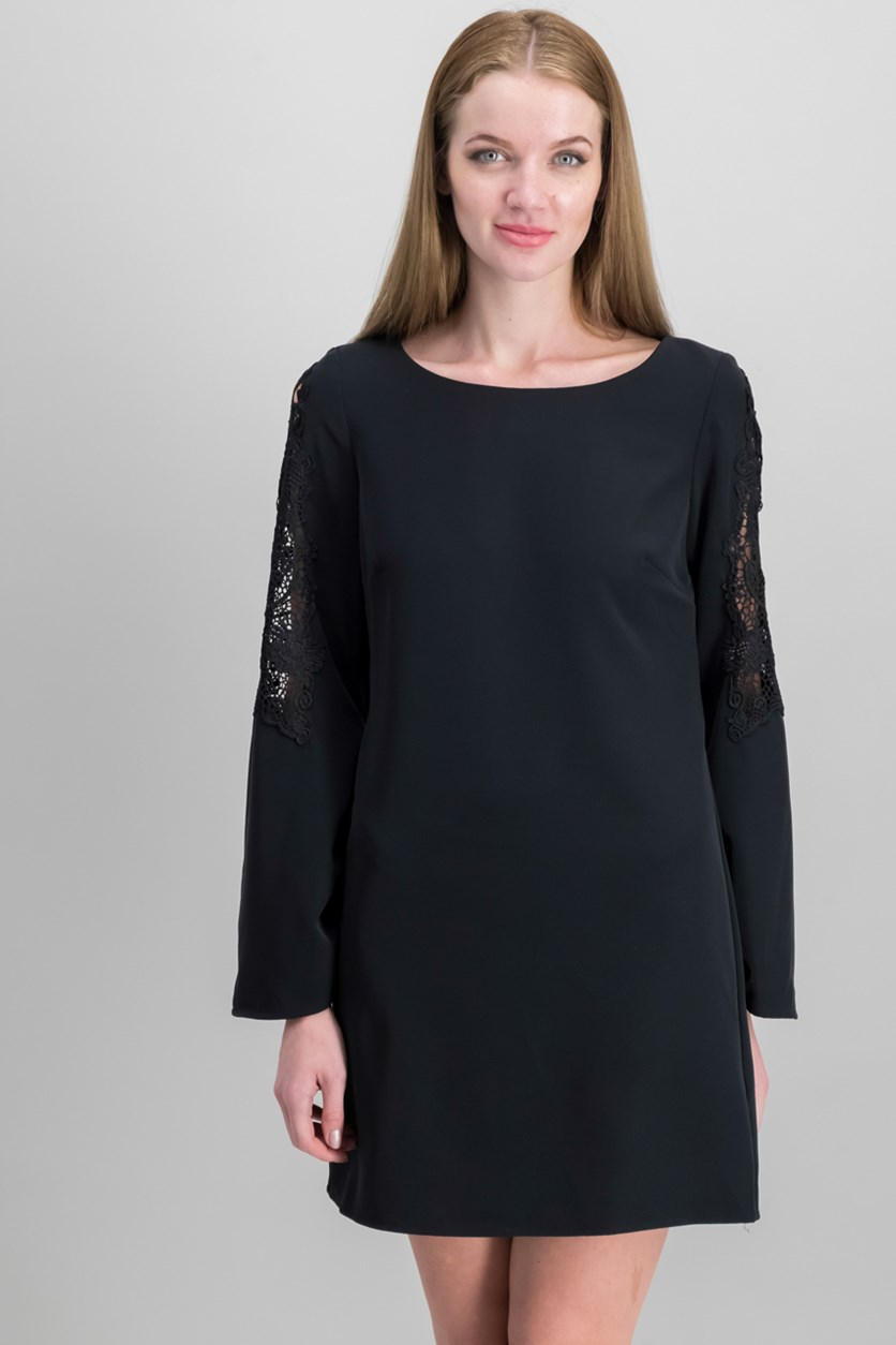 Lace Sleeve Crepe Dress, Black