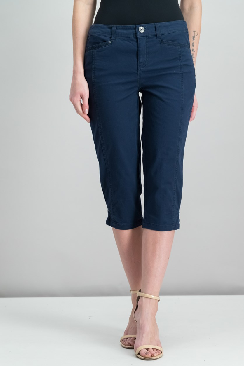 . Women's Petite Capri Pants, Industrial Blue