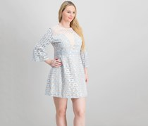 Foxiedox Women's Bell-Sleeve Lace Illusion Dress, Bluebell
