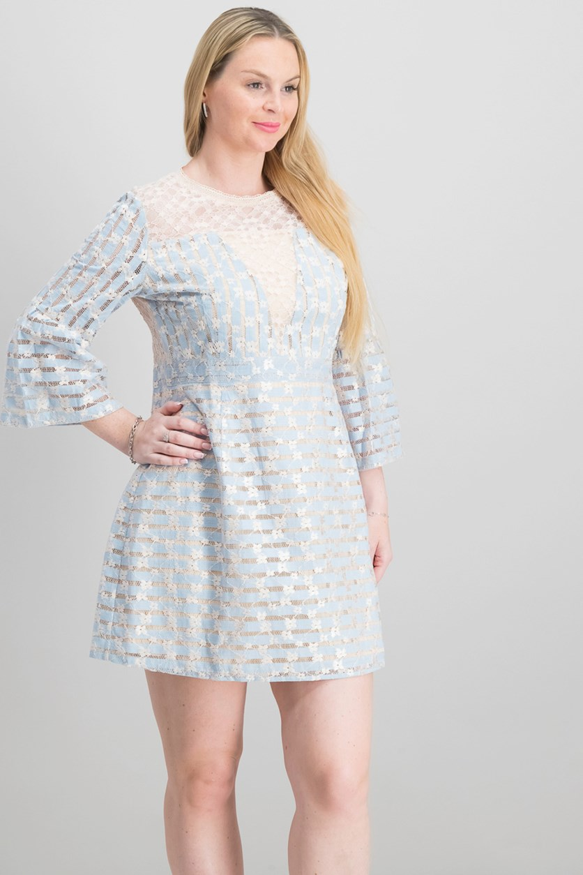 Women's Bell-Sleeve Lace Illusion Dress, Bluebell