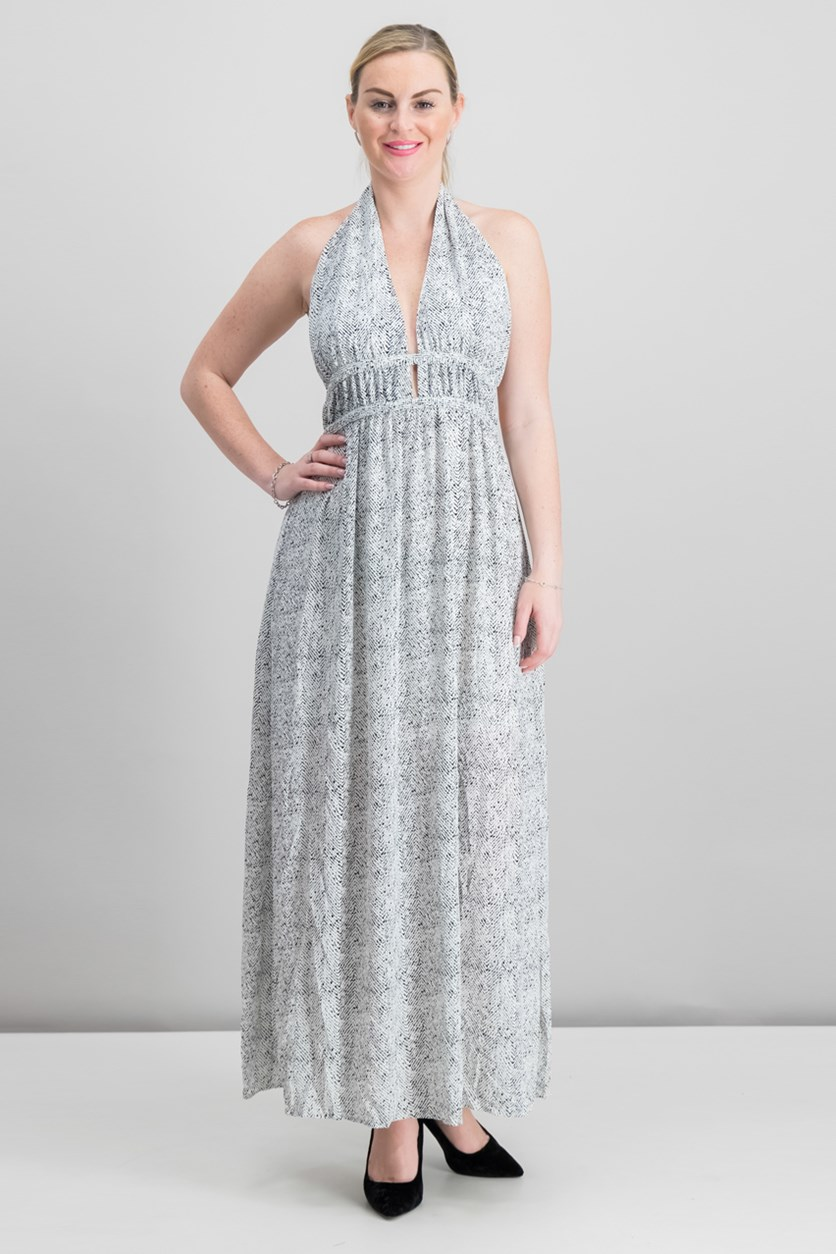 Printed Halter Maxi Dress, White Combo