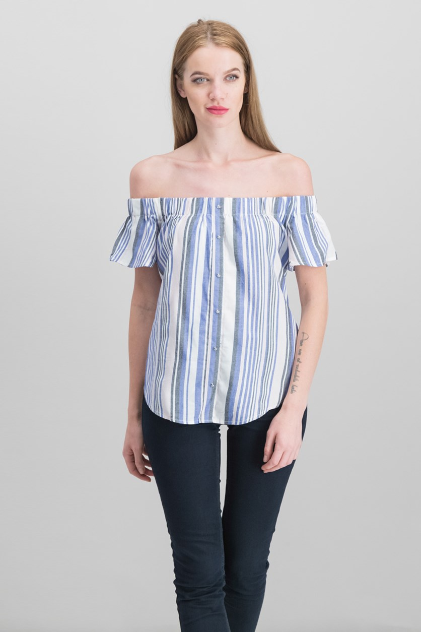 Juniors Striped Off-The-Shoulder Top, Blue/Pink Combo
