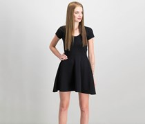 Planet Gold Juniors' Cap-Sleeve Textured Fit & Flare Dress, Black