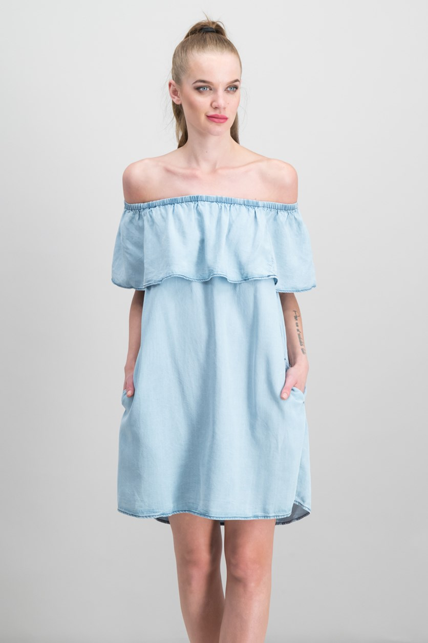 Misha Off-The-Shoulder Flounce Dress, Blue