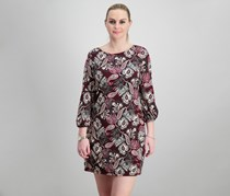 Jessica Howard Petite Paisley-Print Shift Dress, Burgundy