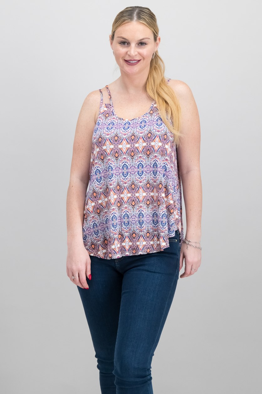 Women Juniors Printed Double-Strap Top, Ivory Medallion