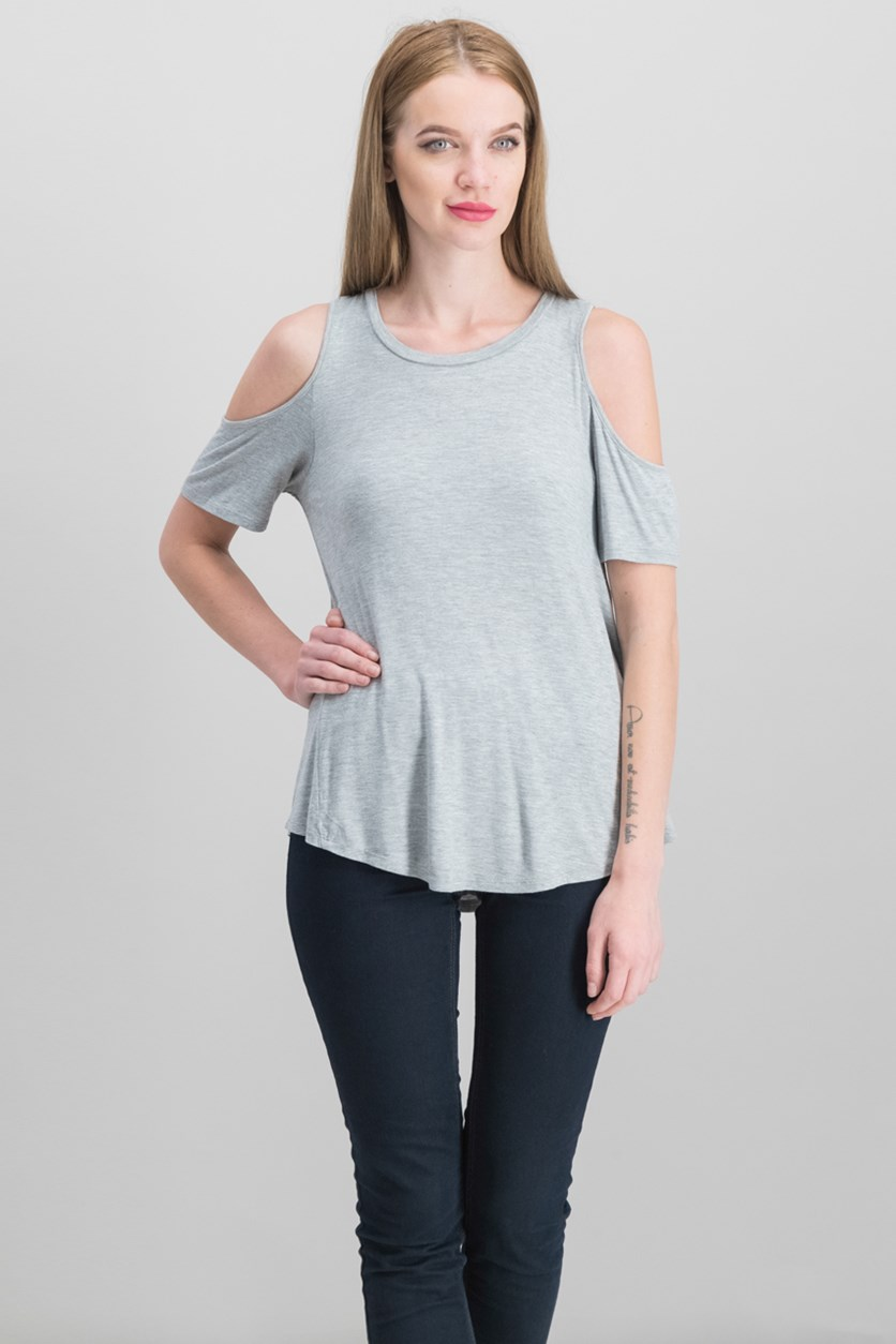 Juniors Cold-Shoulder T-Shirt, Light Heather Grey