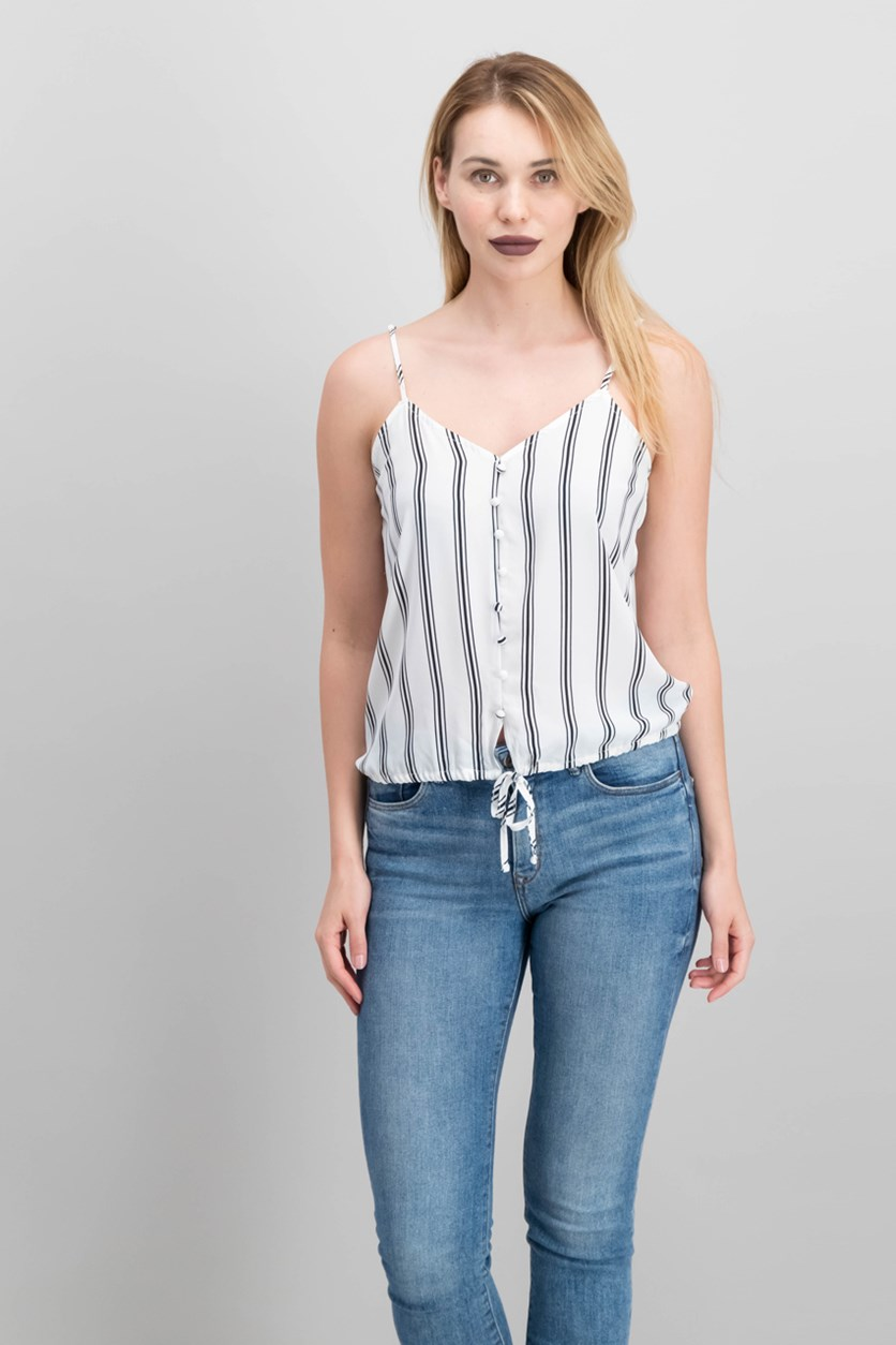 Juniors Striped Adjustable Top, White Stripe