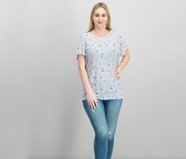 Joie Riker Stripe-and-Floral Tee, Navy/White