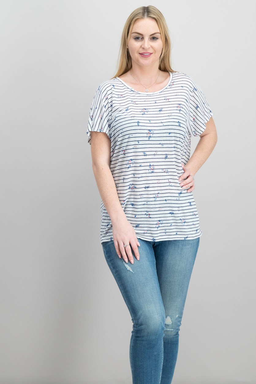 Riker Stripe-and-Floral Tee, Navy/White