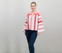Women Embroidery Top, Red/White