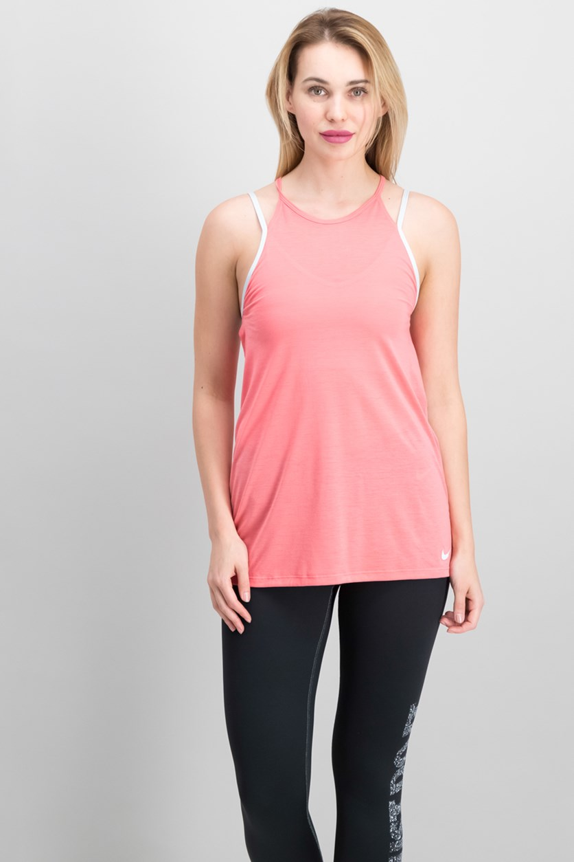 Dry Layered Tank Top, Sea Coral/Pure Platinum
