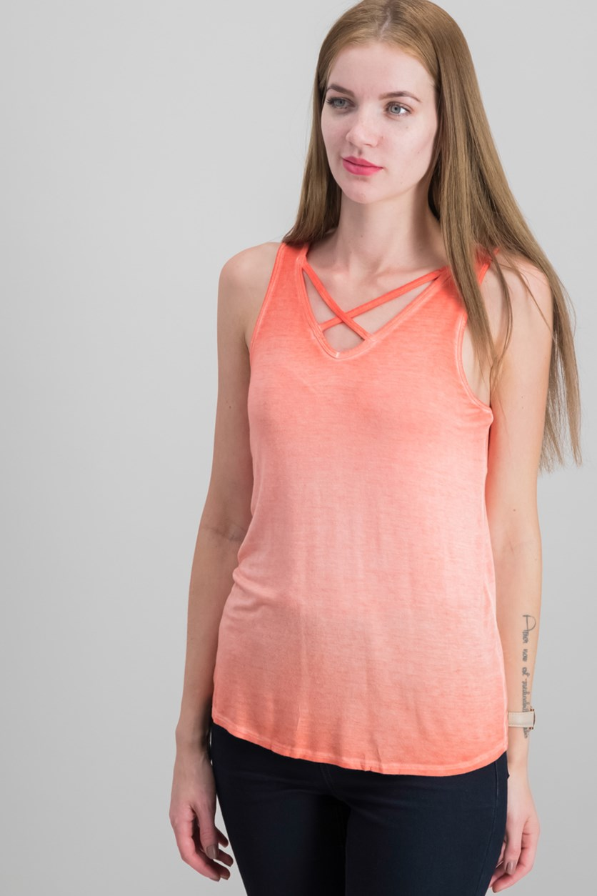 Lunar Sleeveless Crisscross Top, Poppy Coral