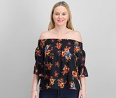 Polly & Esther Juniors' Smocked Printed Off-The-Shoulder Top, Black