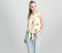 Polly Esther Juniors Tie-Front Blouse, Yellow/White