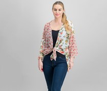 Polly Esther Juniors Mixed-Print Tie-Front Cardigan, Ivory