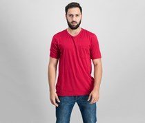 Men Short Sleeve V Neck Top, Red