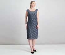 Connected Metallic Lace Sheath Dress, Gunmetal