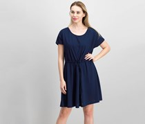 French Connection Ravenna Drawstring-Waist Dress, Indigo
