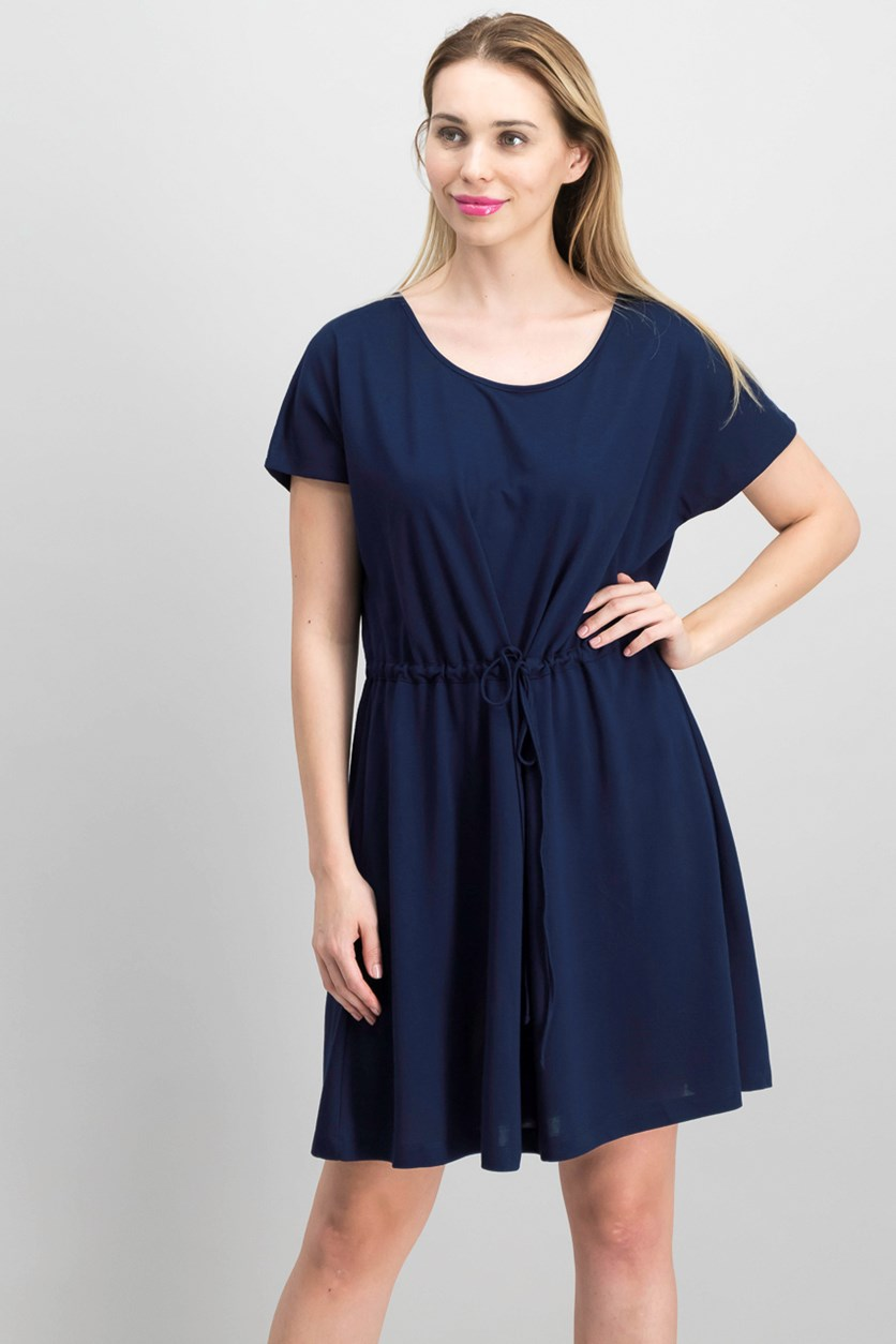 Ravenna Drawstring-Waist Dress, Indigo