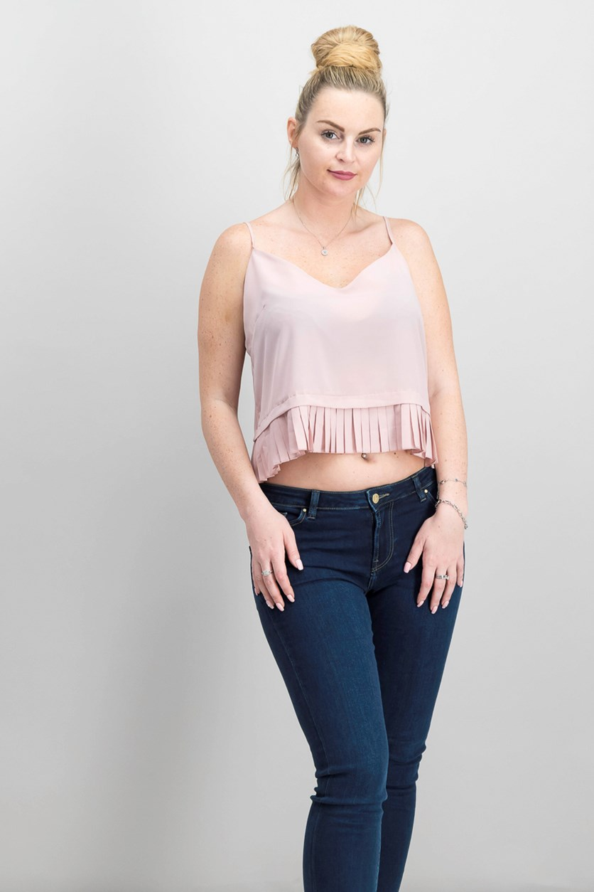 Pleated-Hem Top, Venetian Pink