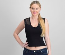 Rachel Roy Mixed-Media Crop Top, Black