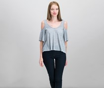Rachel Roy Cold-Shoulder Cropped Top, Heather Gray