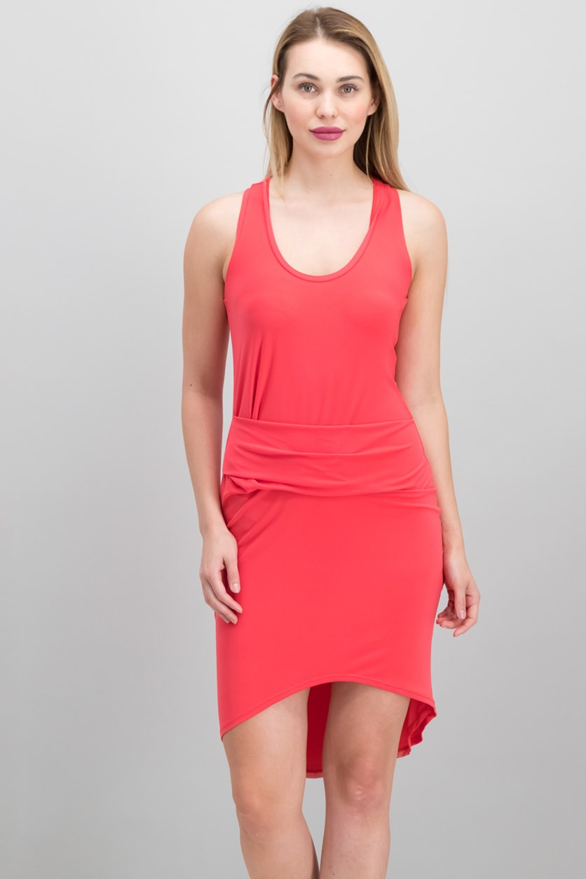 Ruched High-Low Sheath Dress, Paradise